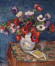 Attr. to Georgii Aleksandrovich Lapshin, Russian (1885-1950/51), Floral still life, oil on canvas, 21 1/4 x 17 inches