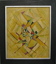 Georges Vasseur, French, 20th century, Cubist abstract, oil on canvas, 25 x 21 inches