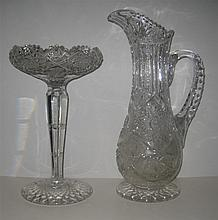Brilliant Cut Glass Jug and Tall Compote