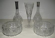 Five Pieces of Cut and Etched Glass Table Articles