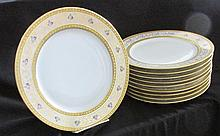 Set of Ten Limoges Porcelain Service Plates