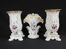 Three Old Paris Porcelain Vases