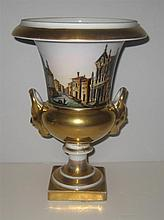 Paris Porcelain Topographically Decorated Urn
