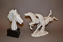 Two German White-Glaze Porcelain Horse Groups