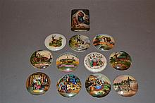 Twelve German Painted Miniature Porcelain Plaques