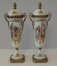 Pair of Continental Ormolu Mounted Porcelain Urns