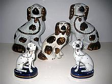 Five English Victorian Staffordshire Pottery Dogs