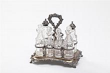 English Silver Seven-Bottle Cruet Stand