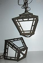 Pair of Antique Mission Iron Hanging Lanterns