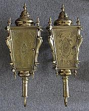 Pair Antique Brass Carriage Lanterns