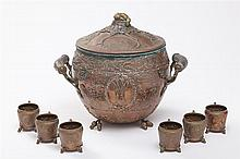 German Copper Christmas Hunter's Tureen and Cups