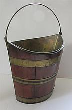 English Georgian Brass Banded Mahogany Peat Bucket