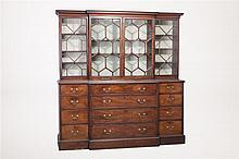 English George III Mahogany Secretary Breakfront