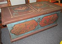 Continental 19th Century Hand Painted Pine Trunk