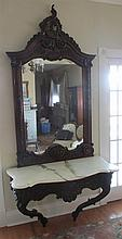 CARVED LOUIS XV STYLE CONSOLE AND MIRROR