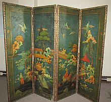 Antique Four Panel Painted Leather Screen