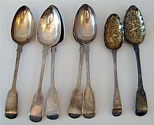 Seven English Silver Table Spoons