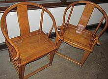 Pair Chinese 19th Century Horseshoe Back Chairs