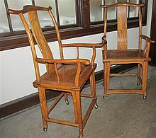 Pair Chinese 19th Century Elm Wood High Back Open Armchairs