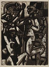Charles Francis Quest, American (1904-1993), Female Figures, 1951, woodcut, 12 x 9 inches