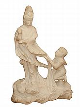 Asian Carved Stone Figure Group of Guanyin and Child