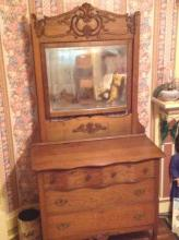 Antique Oak Dresser w/Mirror