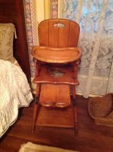 Antique Convertible High Chair