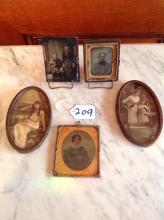 (5) for ONE Money small Antique Picture Tins