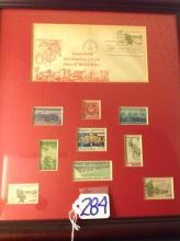 Framed Military Commemorative Stamp collection incl. first day issue