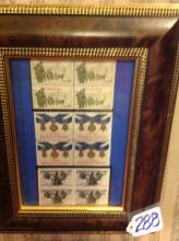 Framed Stamp collection ~ 22 cent Veterans of Korea, 20 cent medal of honor, 37 cent WWll
