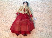 Antique Doll with porcelain head & hand, leather legs