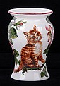 A Rare Wemyss Ware Vase with Cat Decoration