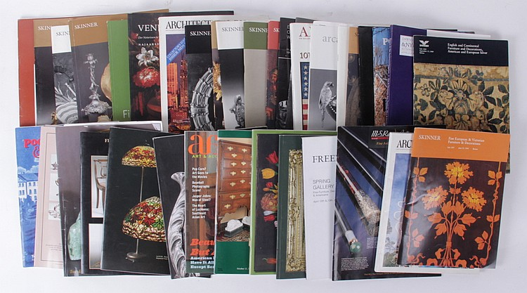 Nearly 250 Auction Catalogs, Art Books, Books Regarding Antiques