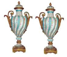 Pair of Ormolu Mounted Sevres Style Porcelain Urns, Circa 1900