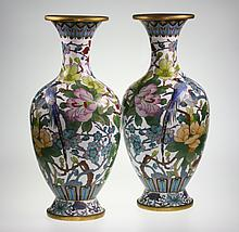 A Pair of Chinese Cloisonne Vases. Late 19th early 20th century