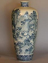 A Large Chinese Blue and White Vase. Republic Period. One Hundred deer pattern