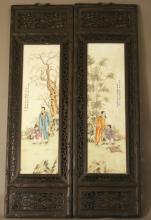 A Fine Set of Four Japanese Porcelain Hanging Panels. Meiji