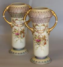 A Pair of Two Handled Vases. Probably Continental, circa 1900