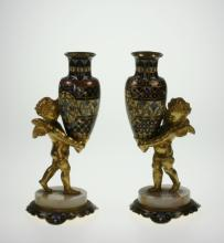 Pair French Gilt Bronze Champleve Enamel and Onyx Cherubs