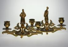 Pair Gilt Bronze and Champleve Enamel Two Branch Candelabra