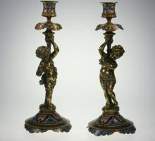 Pair French Gilt Bronze Champleve Enamel Figural Candlesticks