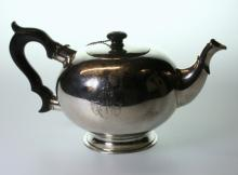 A Continental 18th Century Bullet Shaped Silver teapot