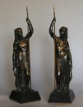 A Pair of French Egyptian Style Bronze Figures. Late 19th