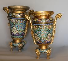 A Pair of French Champleve Enamel two handled urns