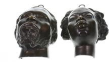A Pair of French Bronze Heads, Charles Cordier