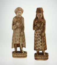 A Pair of Indian Ivory Figures. 19th century