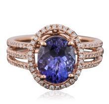 14KT Rose Gold 3.22ct Tanzanite and Diamond Ring