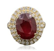 14KT Yellow Gold 8.56ct Ruby and Diamond Ring