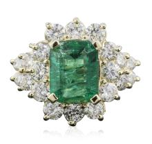 14KT Yellow Gold 3.01ct Emerald and Diamond Ring