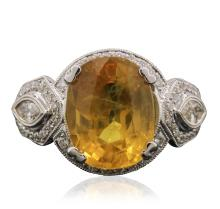 18KT White Gold 6.69ct Yellow Sapphire and Diamond Ring